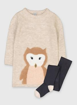 Oatmeal Owl Knitted Dress & Tights