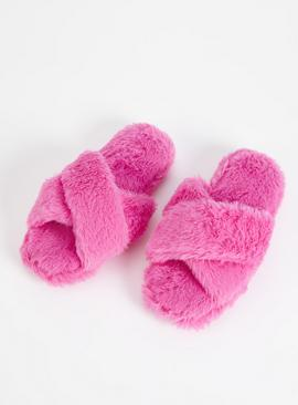 Pink Faux Fur Crossover Slippers
