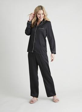 Black Satin Traditional Pyjamas