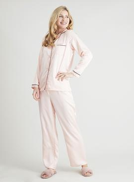 Pink Satin Traditional Pyjamas