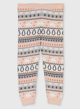Fair Isle Penguin Knitted Leggings