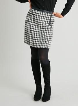 Black & Cream PU Trimmed Houndstooth Check Mini Skirt
