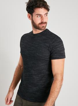 Black Textured Crew Neck T-Shirt