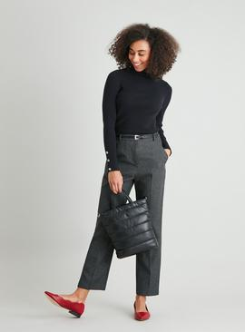 Grey Dogtooth Check Belted Tapered Trousers