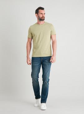 Khaki Cotton Slub Crew Neck T-Shirt