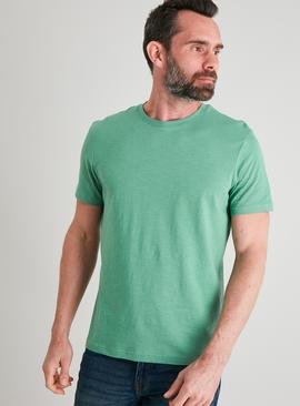Green Cotton Slub Crew Neck T-Shirt