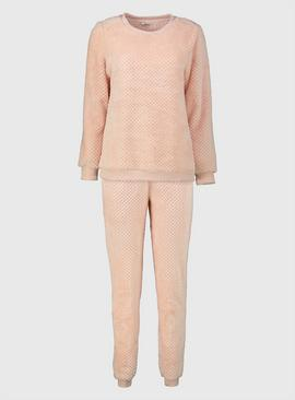 Pink Textured Fluffy Pyjamas