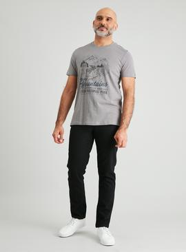 Grey Rocky Mountain Graphic T-Shirt