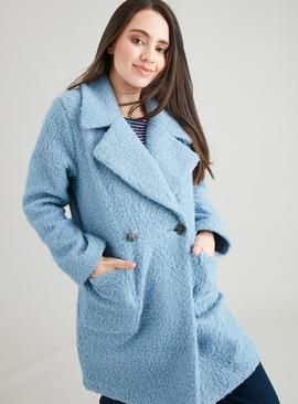 PETITE Blue Patch Pocket Crombie Coat