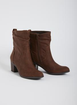 Brown Ruched Block Heel Boot