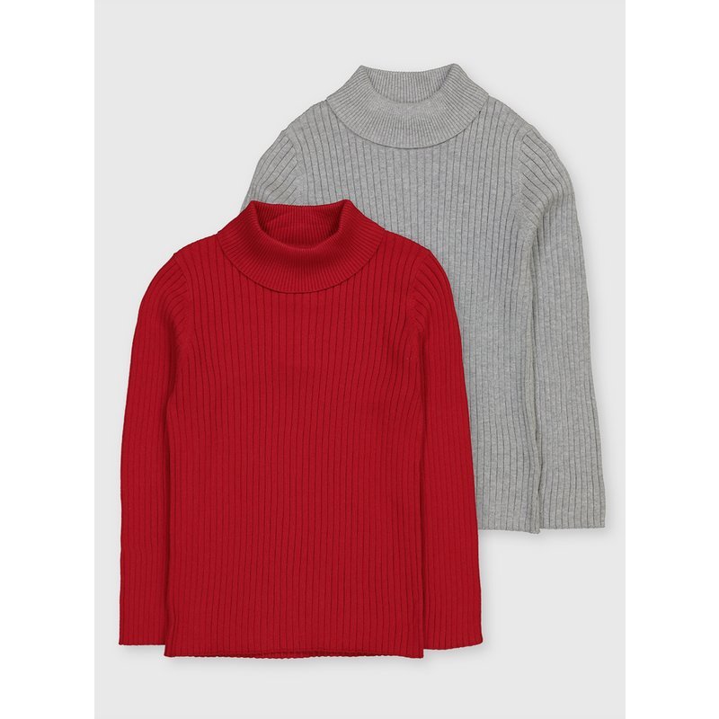 Red & Grey Ribbed Roll Neck Jumper 2 Pack from Argos