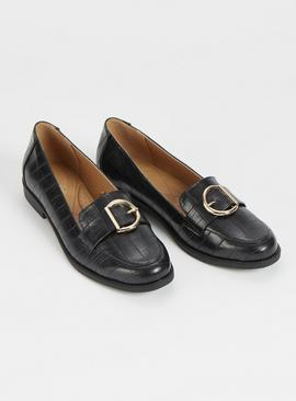 Sole Comfort Black Mock Croc Buckle Loafer