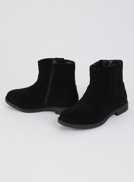 Black Faux Suede Western Boots