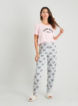 Pink & Grey Animal Heart Print Pyjamas
