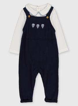 Navy Knitted Dungaree & Bodysuit Set