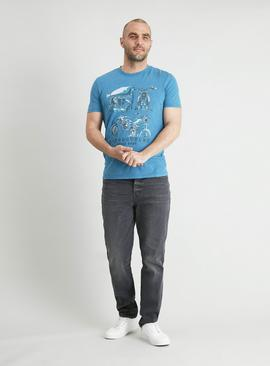 Blue Motorcycles Graphic T-Shirt