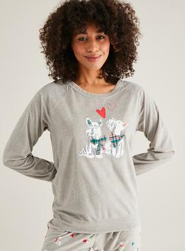 Christmas Grey Scottie Dog Print Pyjama Set