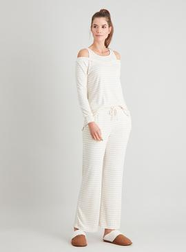 Oatmeal Stripe Cold Shoulder Soft Knit Pyjamas