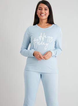 Blue 'Happy Friday' Soft Knit Pyjama Set