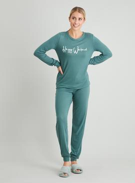 Green 'Happy Weekend' Soft Knit Pyjama Set