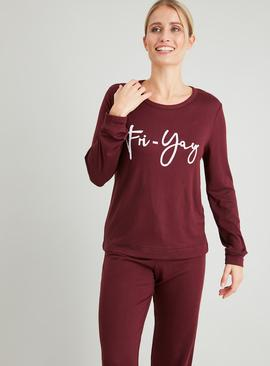 Purple 'Fri-Yay' Soft Knit Pyjama Set