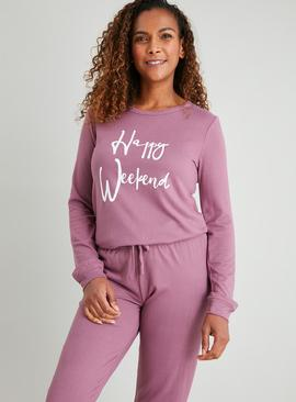 Purple 'Happy Weekend' Soft Knit Pyjamas