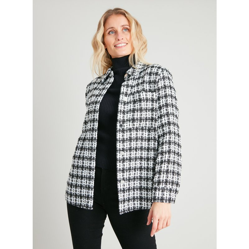 Mono Check Tweed Bouclé Shirt from Argos