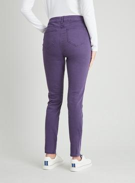 Purple Twill Skinny Jeans With Stretch