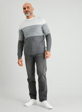 Grey Soft Touch Colour Block Jumper