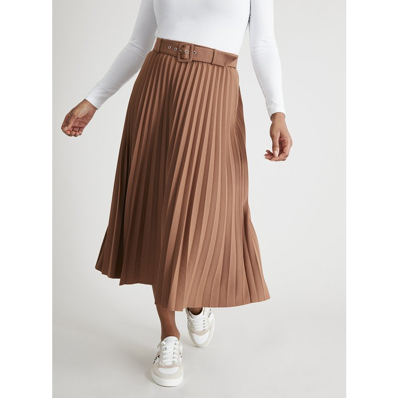 Tan Jersey Pleated Midi Skirt from Argos