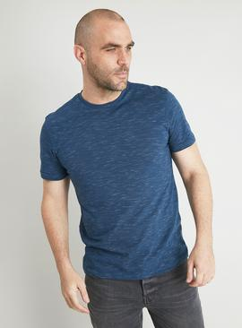 Teal Cotton Slub Crew Neck T-Shirt