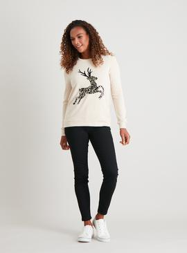 Christmas Cream Flock Reindeer Print Sweatshirt