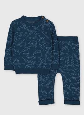 Teal Dinosaur Print Knitted Set