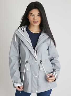 PETITE Grey Shower Resistant Hooded Rubber Raincoat