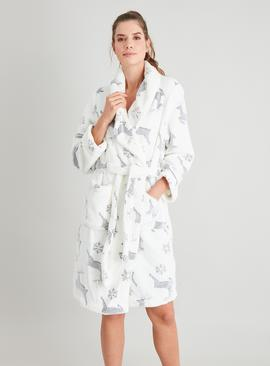 Stag Print Fleece Dressing Gown