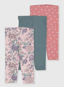Floral & Plain Leggings 3 Pack