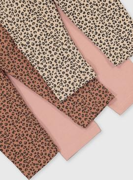 Pink & Leopard Print Leggings 3 Pack