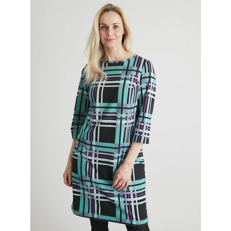 Geometric Check Brushed Shift Dress from Argos
