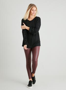 Black Couture Bling Stud Knit Look Top