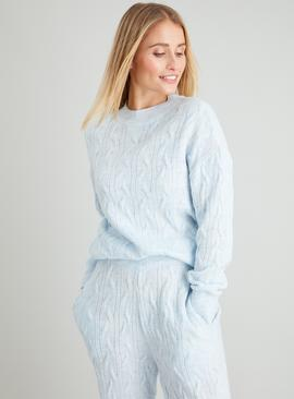 Pale Blue Cable Knit Crew Neck Coord Jumper