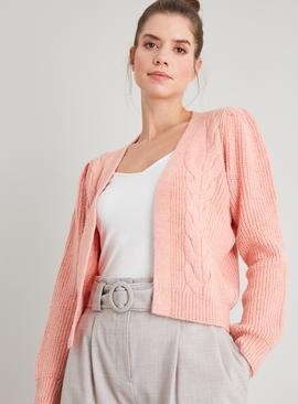 Pink Cable Knit Neppy Cardigan