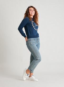 Navy 'Love' Embroidered Jumper
