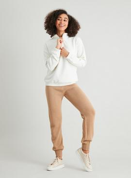 Cream Half Zip Bubble Hem Sweatshirt