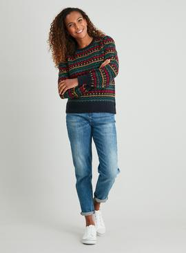 Christmas Navy Heart Fair Isle Jumper