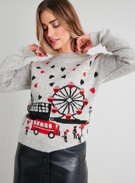 Christmas Grey London Scene Jumper
