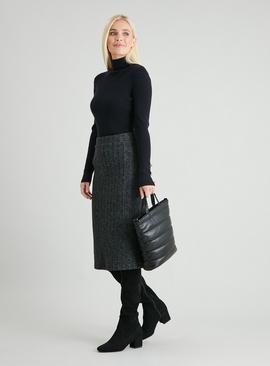 Grey Ribbed Soft Touch Co-ord Pencil Skirt