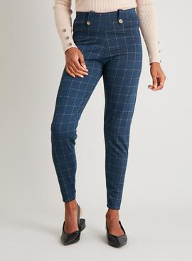 Navy Grid Check Leggings
