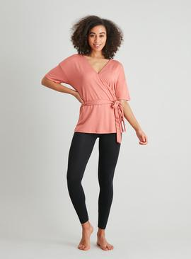 Active Pink Ribbed Wrap-Over Top