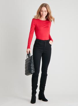 Red Long Sleeved Luxe Top