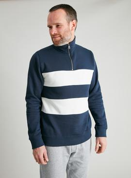 Navy Funnel Neck Colour Block Half Zip Sweatshirt